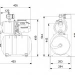 Хидрофорна самозасмукваща система Grundfos JP 4-47 PT-H INOX - JP 4-47 PT-H BBVP dimensions
