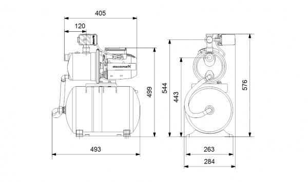 Хидрофорна самозасмукваща система Grundfos JP 4-47 PT-H INOX