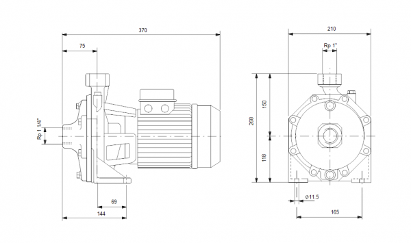 Grundfos NS 5-60 1x230V Центробежна хоризонтална помпа  🟢 В наличност