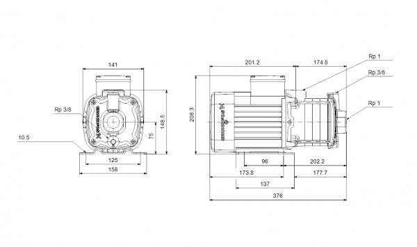 Grundfos CM1-7 A-R-A-E-AQQE 1x230V Многостъпална помпа  🔴 Доставка по заявка