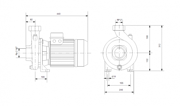 Grundfos NS 30-30 3x400V Центробежна хоризонтална помпа  🟢 В наличност