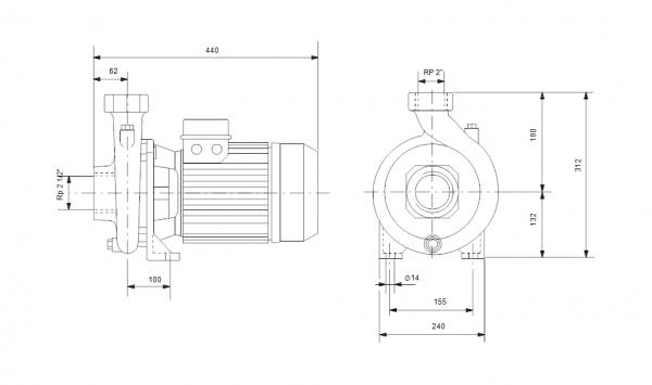 Grundfos NS 30-36 3x400V Центробежна хоризонтална помпа  🟢 В наличност